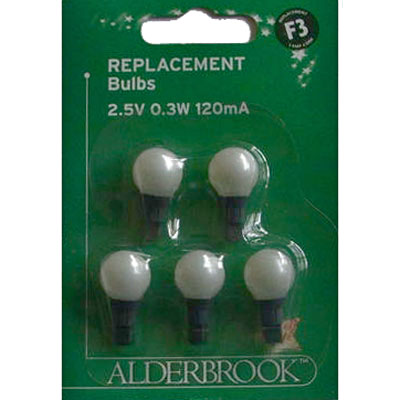 Alderbrook® F3 2.5v White Berry Replacement Bulbs 5 Pack (AK0179W)
