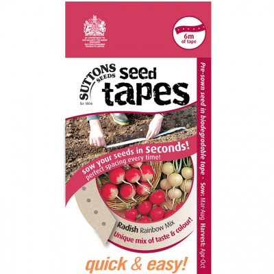 Suttons Seed Tapes  -Radish Rainbow Mix