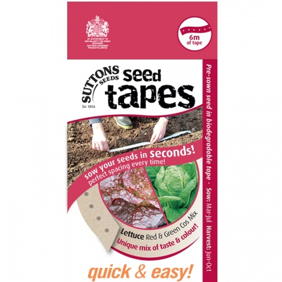Suttons Seed Tapes  - Lettuce Red & Green Cos Mix