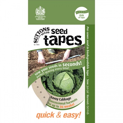 Suttons Seed Tapes  -Savoy Cabbage
