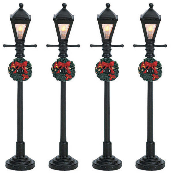 Lemax gas lantern street lamp accessory set of 4 64498 for 59 victorian lighted black lamp post christmas decoration