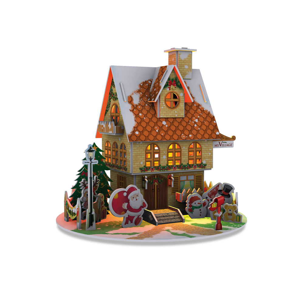 myvillage christmas house led lit 3d puzzle kit mypz01 bosworths online shop. Black Bedroom Furniture Sets. Home Design Ideas