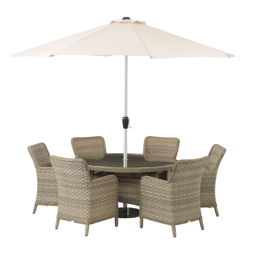 bramblecrest patagonia round table 6 seater garden dining suite