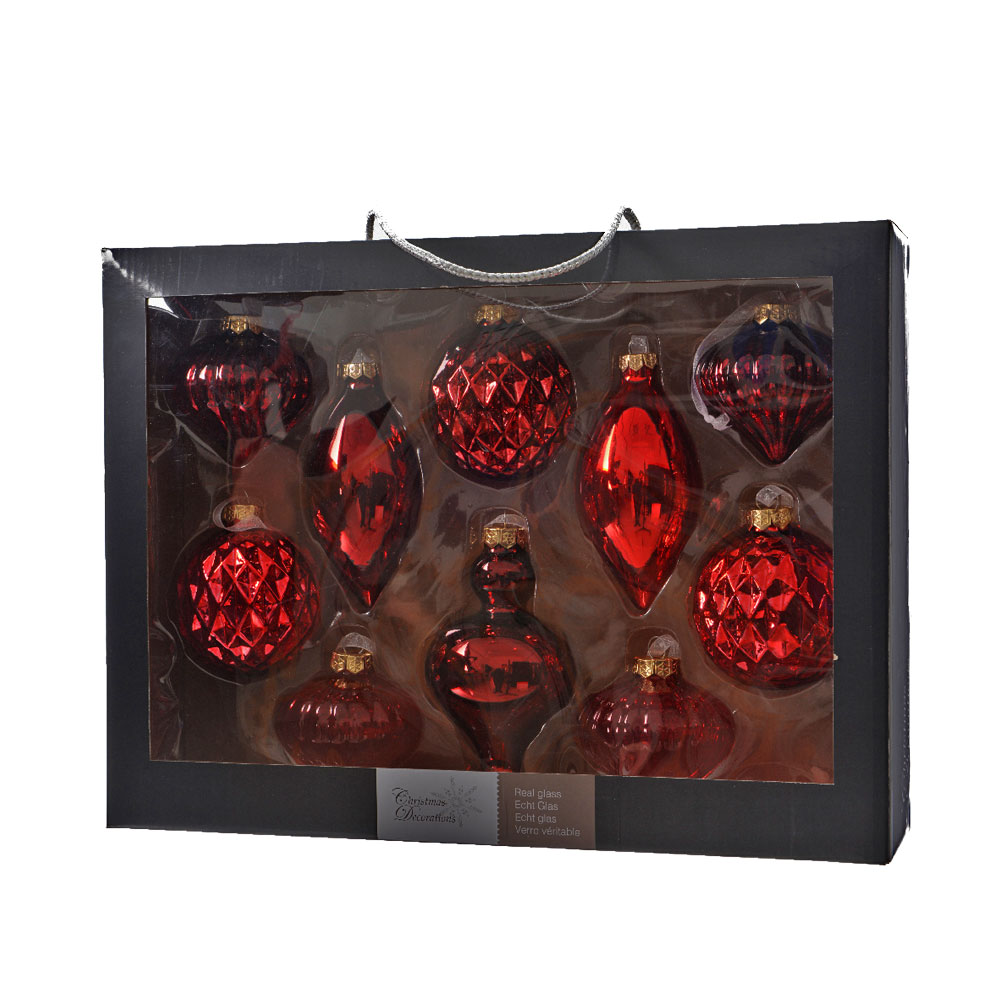Christmas Tree Hanging Decoration Pack Red Glass 10pcs