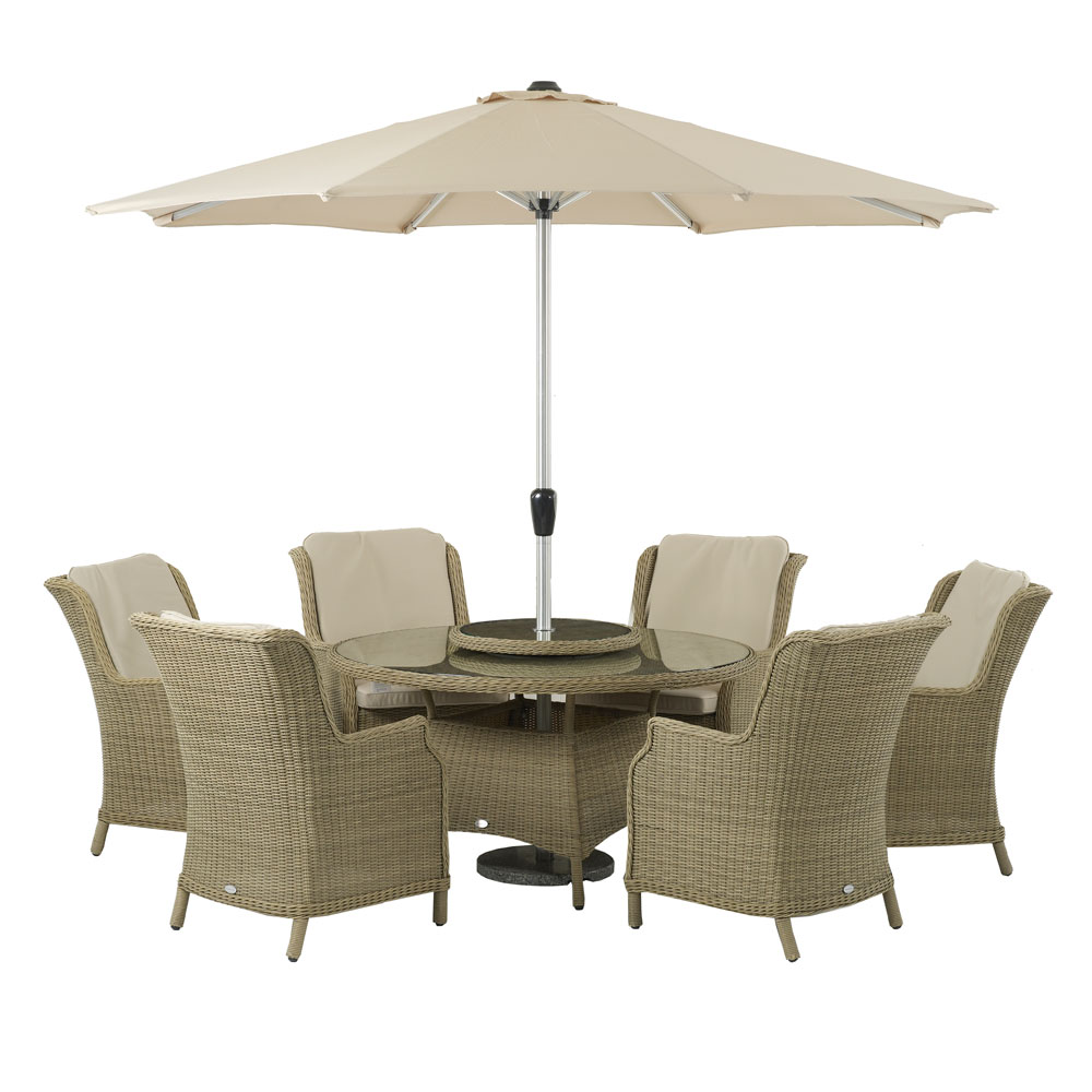 6 Seater Round Dining Table: Bramblecrest Oakridge Round Table 6 Seater Garden Dining