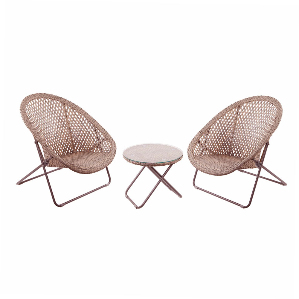 Tobs Faux Rattan Folding Chair Lounge Set 2 Chairs