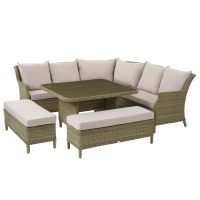 Bramblecrest Oakridge Modular Sofa Suite & Square Dining Table Bench Set