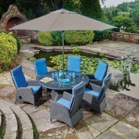Harrow Round 6 Seat Garden Dining Set Inc. Lazy Susan