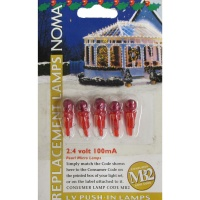 Noma® 2.4v 100mA Red Pearl Micro MB2 Push In Bulbs Pack of 5 (0156RR)