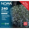 Noma® 240 White Multi Effect LED Lights - Green Cable (8724GW)