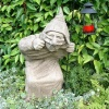 Pheeberts Stone Garden Statue - Dick 'The Sneak' & Lantern (PGS014)