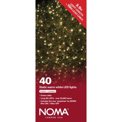Noma® 40 Warm White LED Static Decorative Lights - Green Cable (8741GWW)