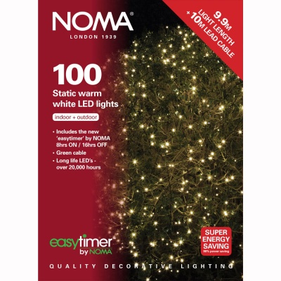Noma® 100 Warm White LED Static Decorative Lights - Green Cable (8713GWW)