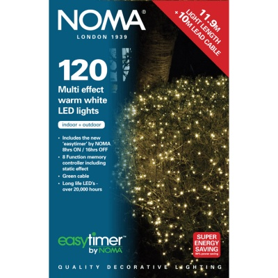 Noma® 120 Warm White Multi Effect LED Lights - Green Cable (8712GWW)