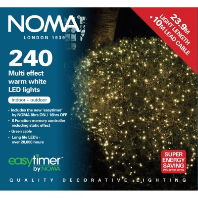 Noma® 240 Warm White Multi Effect LED Lights - Green Cable (8724GWW)