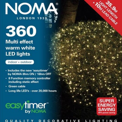Noma® 360 Warm White Multi Effect LED Lights - Green Cable (8736GWW)
