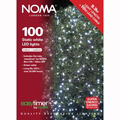 Noma® 100 White LED Static Decorative Lights - Green Cable (8713GW)