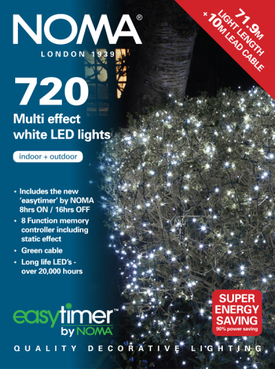 Noma® 720 White Multi Effect LED Lights - Green Cable (8772GW)