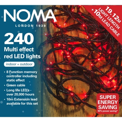 Noma® 240 Red Multi Effect LED Lights - Green Cable (8724GR)