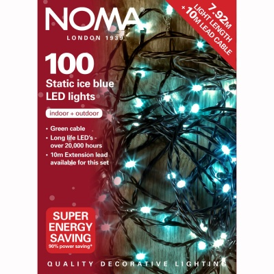 Noma® 100 Ice Blue LED Static Decorative Lights - Green Cable (8713GB)