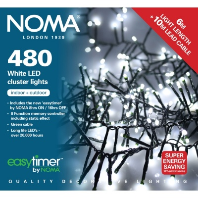 Noma® Multi-Effect Cluster Lights 480 White LEDs / Green Cable (2515064GW)