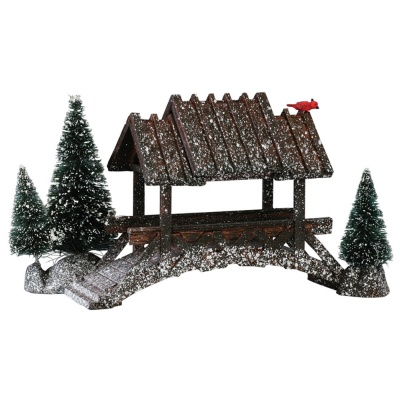 Lemax Wooden Bridge With Trees - Accessory (14618)