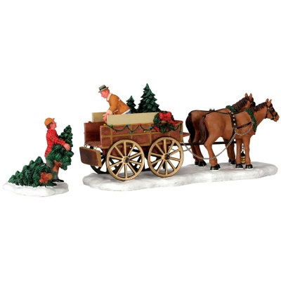 Lemax Christmas Tree Wagon Table Accent - Set of 2 (43451)