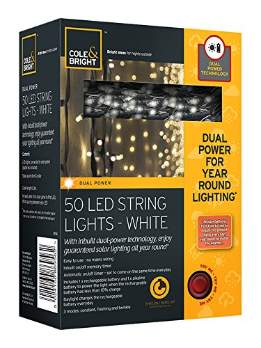 Cole and Bright 50 LED Solar String Lights - White - Dual Power