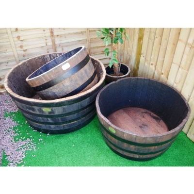 Alisa Wood Cut Cask  Black Hooped Wooden Barrel 86cm
