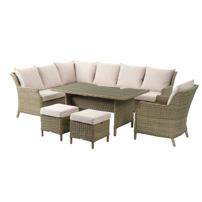 Bramblecrest Oakridge Modular Sofa & Mini Adj. Dining Table With 2 Stools