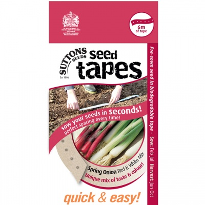 Suttons Seed Tapes  - Spring Onion Red and White Mix