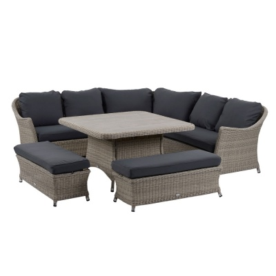 Bramblecrest Monterey Modular Sofa Suite Square Dining Table Bench Set