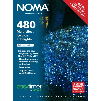 Noma® 480 Ice Blue Multi Effect LED Lights - Green Cable (8748GIB)
