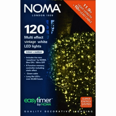 Noma® 120 Antique White Multi Effect LED Lights - Green Cable (8712GAW)