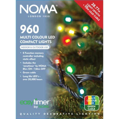 Noma 960 Compact LED Lights Multi Colour - Green Cable
