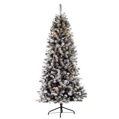 Puleo Slim Snowy Cone Pine 6.5ft Pre-Lit Artificial Christmas Tree
