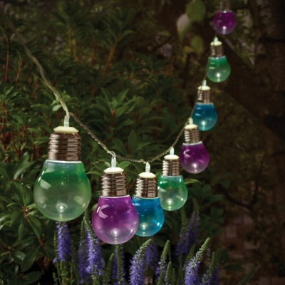 Gardman 10 Solar Bulb String Lights Coloured