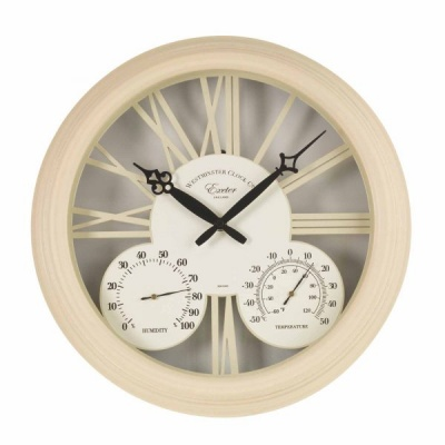 Smart Garden Exeter Wall Clock Thermometer 15'' Cream