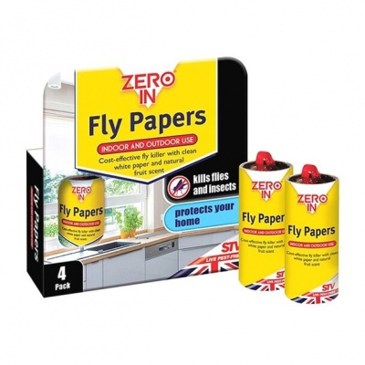Zero Fly Papers 4 Pack