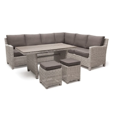 Kettler Palma Casual Dining Corner Set With White Wash Slat Table