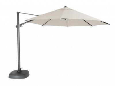 Kettler 3.5m LED Lit Free Arm Large Parasol With Bluetooth Speaker - Natural