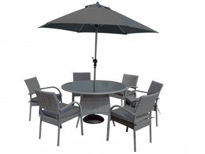 Katie Blake Balmoral 6 Chair Round Table Dining Set & 3m Parasol Base