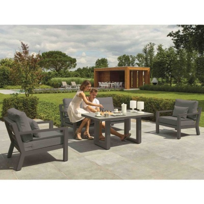 Norfolk Leisure LIFE Timber Lounge Set - Lava Aluminium/Carbon Grey