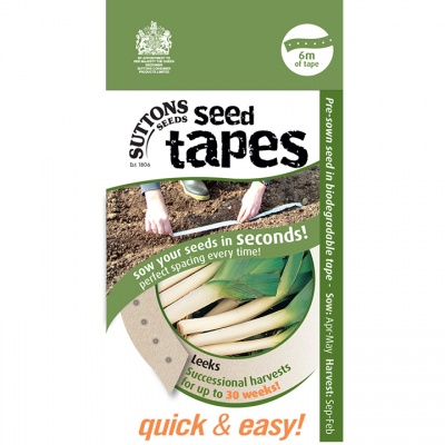 Suttons Seed Tapes  - Leeks successional harvest