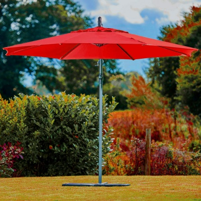 Supremo Riviera Free Arm Round Parasol 3m - Ruby Red