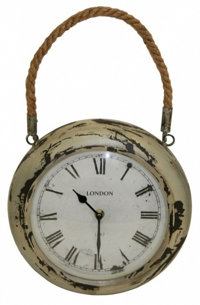 Town & Country 10'' Round Metal Indoor Rope Clock