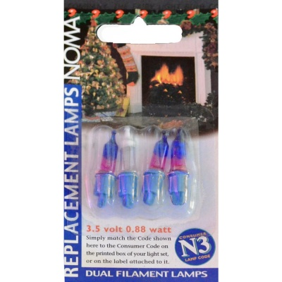 Noma® N3 3.5v Pink & Blue Dual Filament Push In Bulbs Pack of 4 (0346PB)