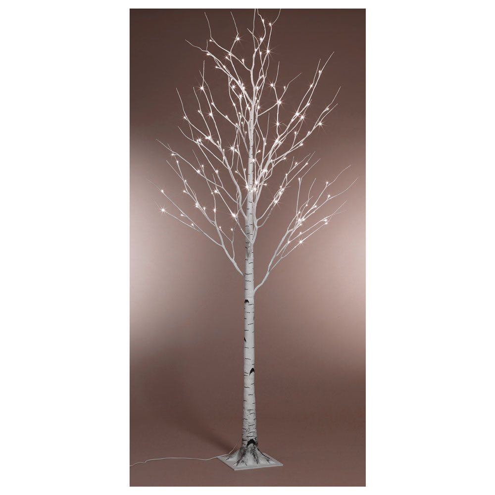 Kaemingk Pre-Lit Paper Birch Christmas Tree 8ft (2.4m) Cool White ...