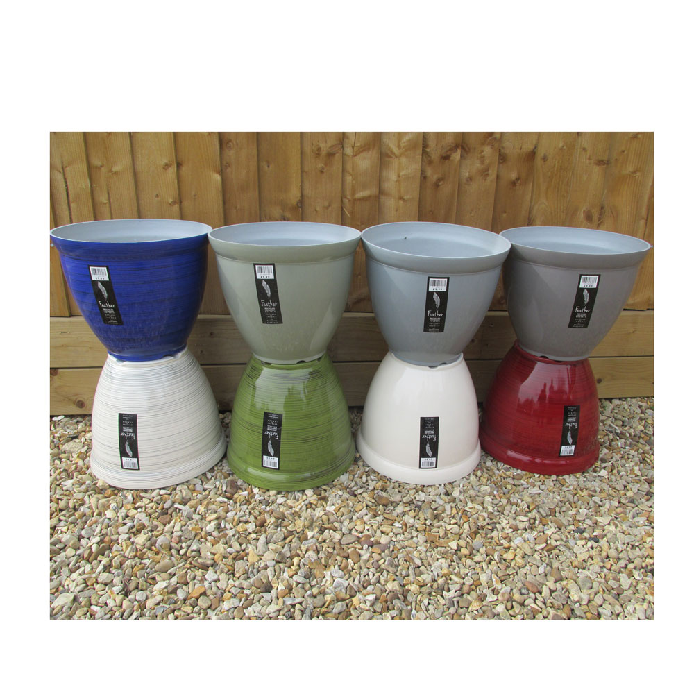 Ceramic Effect Feather Lightweight Plant Pots Assorted Designs