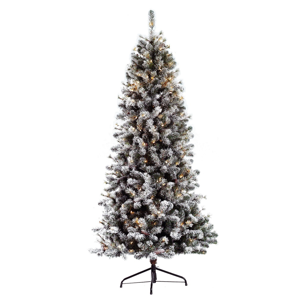 Pre Dressed Christmas Trees: Puleo Slim Snowy Cone Pine 6.5ft Pre-Lit Artificial